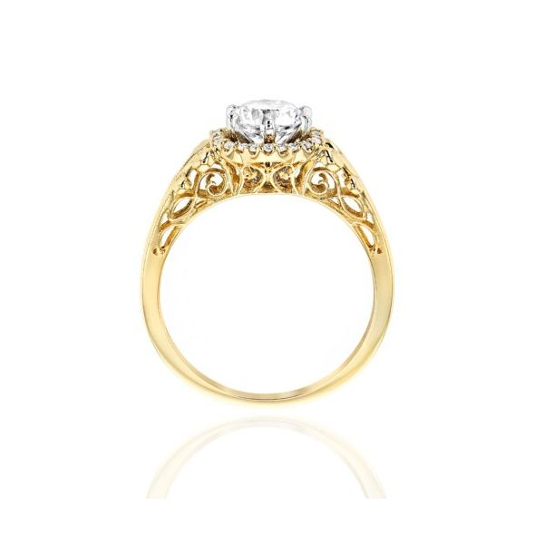 14K Yellow Gold Fancy Halo Engagement Ring Mounting Image 2 Champaign Jewelers Champaign, IL