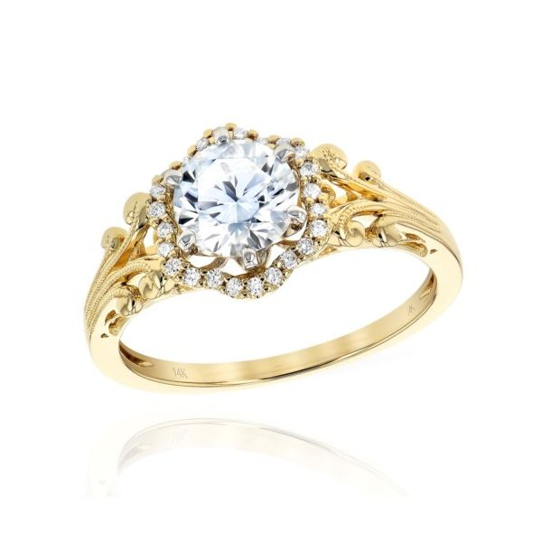 14K Yellow Gold Fancy Halo Engagement Ring Mounting Champaign Jewelers Champaign, IL