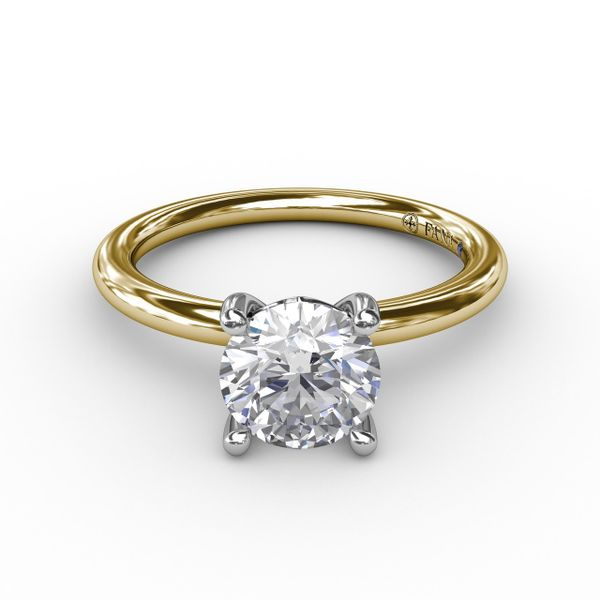 14K Yellow & White Gold Solitaire Diamond Semi-Mount Ring Image 2 Champaign Jewelers Champaign, IL