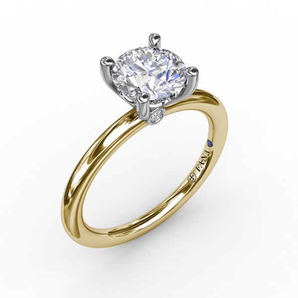 14K Yellow & White Gold Solitaire Diamond Semi-Mount Ring Champaign Jewelers Champaign, IL
