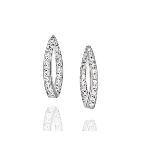 18K Twisted Inside Out Diamond Hoop Earring Champaign Jewelers Champaign, IL