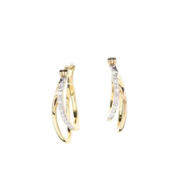 Lady's Yellow 14 Karat Gold Double Curved Diamond Hoop Earrings Champaign Jewelers Champaign, IL