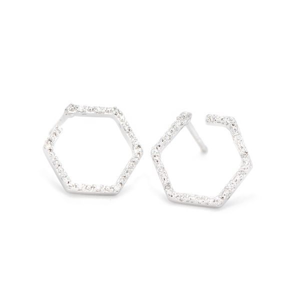 Lady's White 14 Karat Gold Open Hexagon Diamond Stud Earrings Champaign Jewelers Champaign, IL