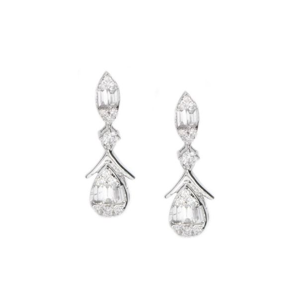 Lady's White 14 Karat Gold Diamond Drop Earrings Champaign Jewelers Champaign, IL