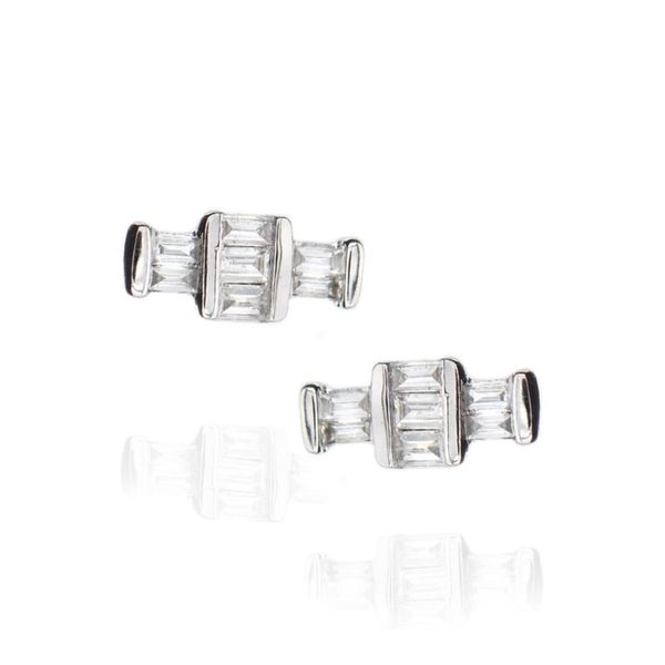 Lady's 10 Karat White Gold Diamond Baguette Earrings Champaign Jewelers Champaign, IL