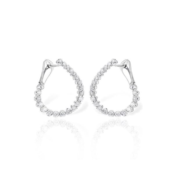 14K White Gold Front-Facing 0.50ct Diamond Hoop Earrings Champaign Jewelers Champaign, IL