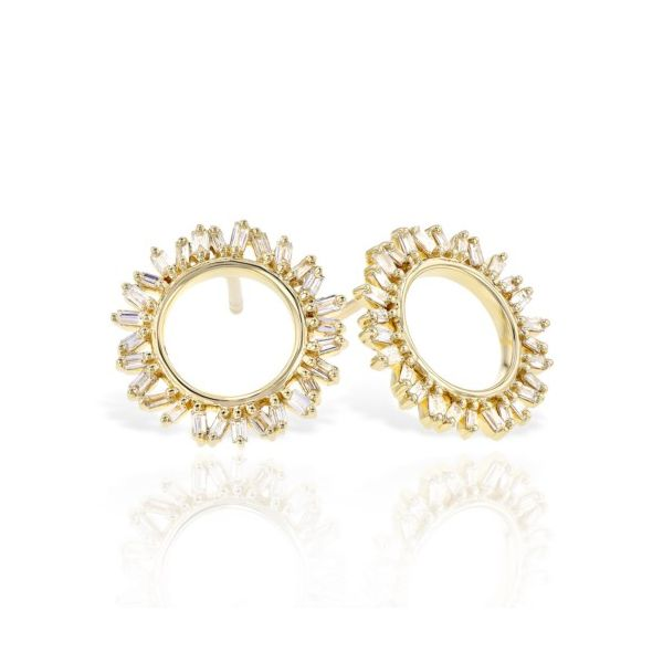 14K Yellow Gold Open Circle 0.37ct Baguette Diamond Earrings Champaign Jewelers Champaign, IL