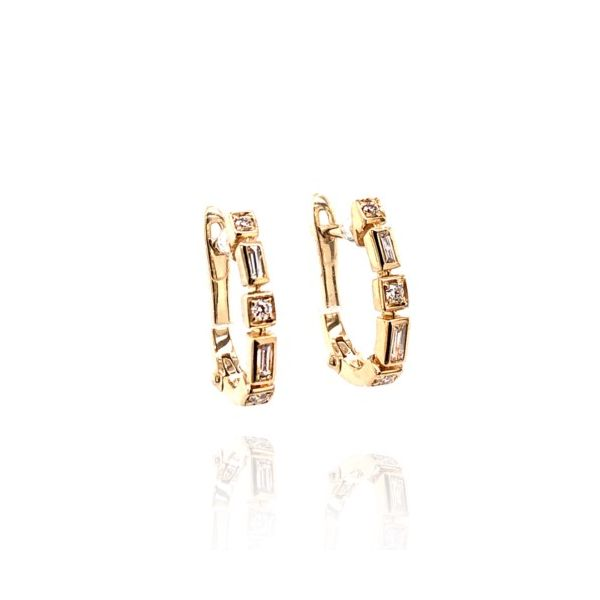 14K Yellow Gold Baguette & Round Diamond Hoop Earrings Champaign Jewelers Champaign, IL