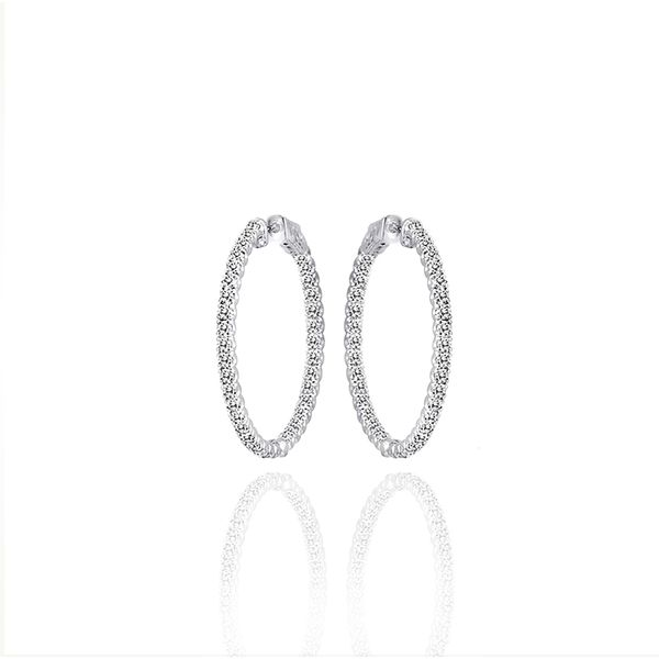 14K White Gold 0.50tw In-Out Diamond Hoop Earrings Champaign Jewelers Champaign, IL