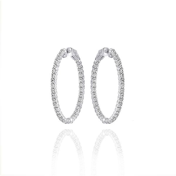 14K White Gold In-Out 1ct Diamond Hoop Earrings Champaign Jewelers Champaign, IL