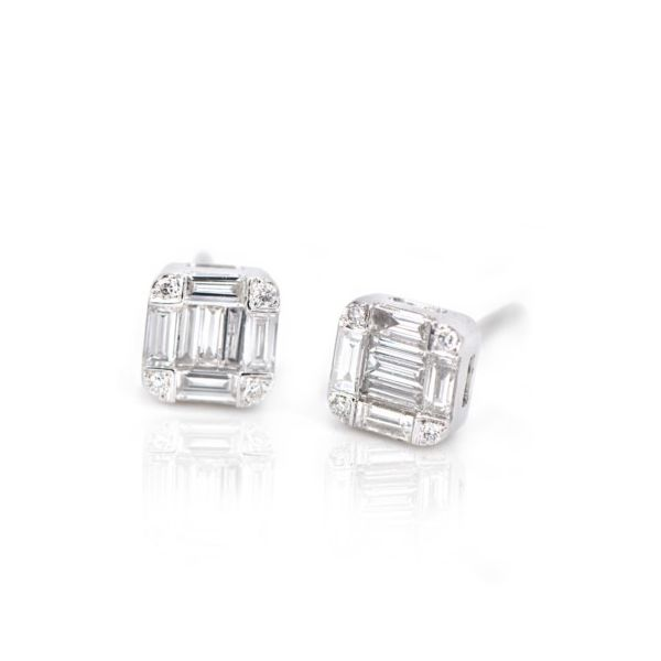 14K Baguette Diamond Cluster Stud Earrings Champaign Jewelers Champaign, IL