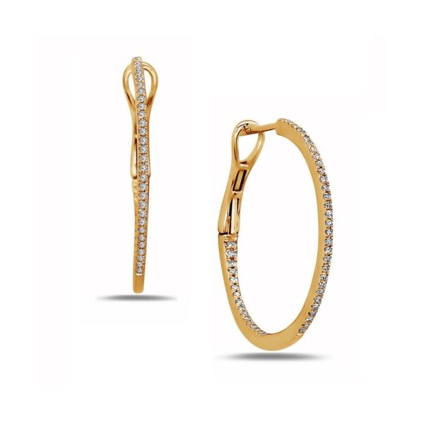 14K Thin Diamond Hoop Earrings Champaign Jewelers Champaign, IL
