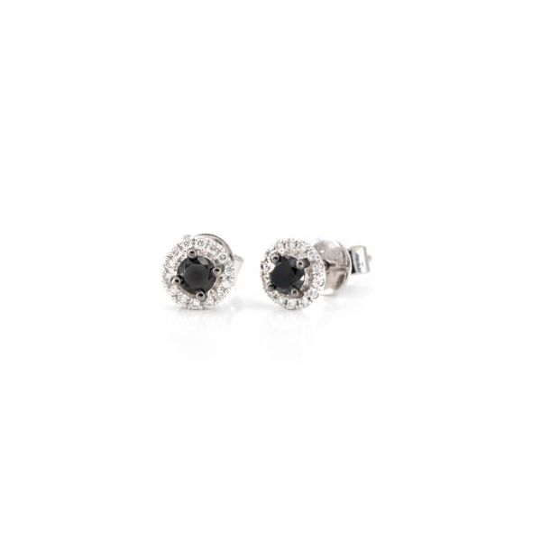 14K Black Diamond Halo Stud Earrings Champaign Jewelers Champaign, IL