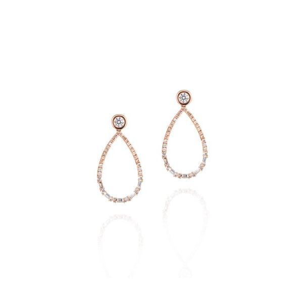 14K Rose Gold Round & Baguette Diamond Drop Earrings Champaign Jewelers Champaign, IL
