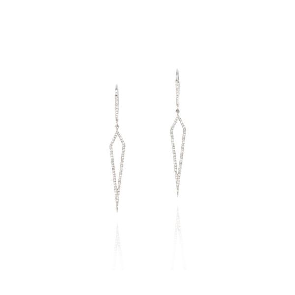 14K White Gold Elongated Spike Diamond Drop Earrings Champaign Jewelers Champaign, IL