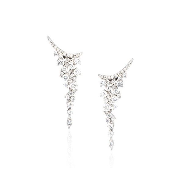 14 Karat White Gold Diamond Climber Drop Earrings Champaign Jewelers Champaign, IL