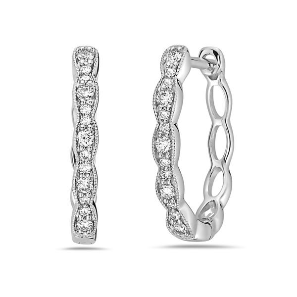 14K Diamond Vintage Milgrain Small Hoop Earrings Champaign Jewelers Champaign, IL