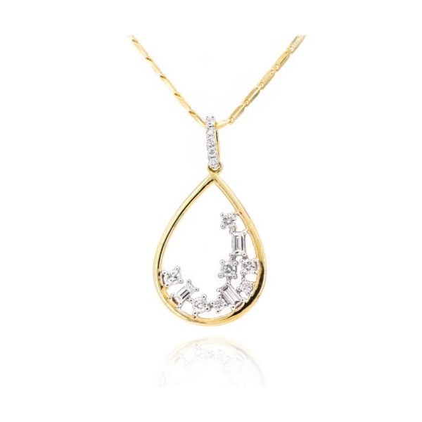Drop Style Pendant With Round and Baguette Cut Diamonds Champaign Jewelers Champaign, IL