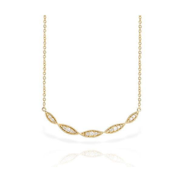 14K Yellow Gold Curved Diamond Bar Necklace Champaign Jewelers Champaign, IL