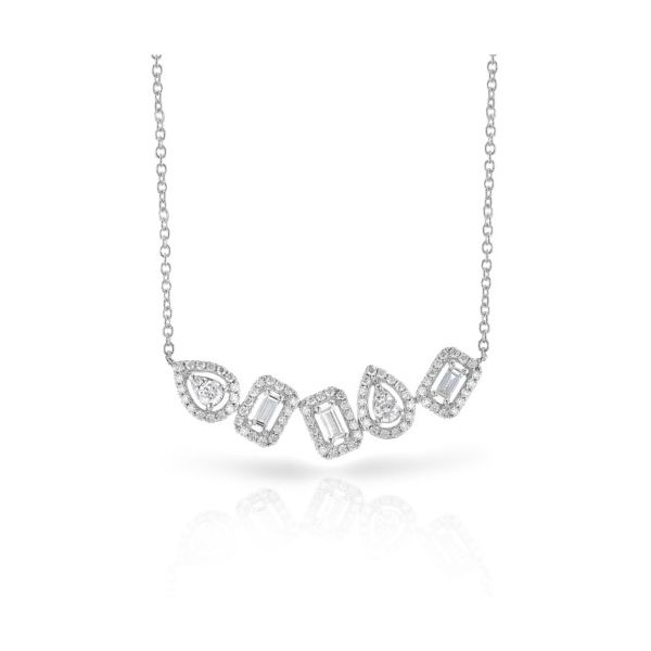 14K Clustered Halo Shapes Diamond Necklace Champaign Jewelers Champaign, IL