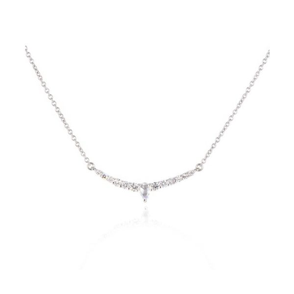 14K Rose-Cut Pear Diamond Curved Bar Necklace Champaign Jewelers Champaign, IL