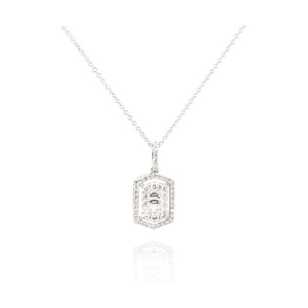 14K Baguette Diamond Deco Cluster Necklace Champaign Jewelers Champaign, IL