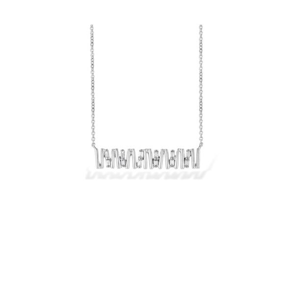 14K Angled Diamond Baguette Bar Necklace Champaign Jewelers Champaign, IL