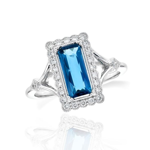14K Vintage Inspired London Blue Topaz Ring Champaign Jewelers Champaign, IL