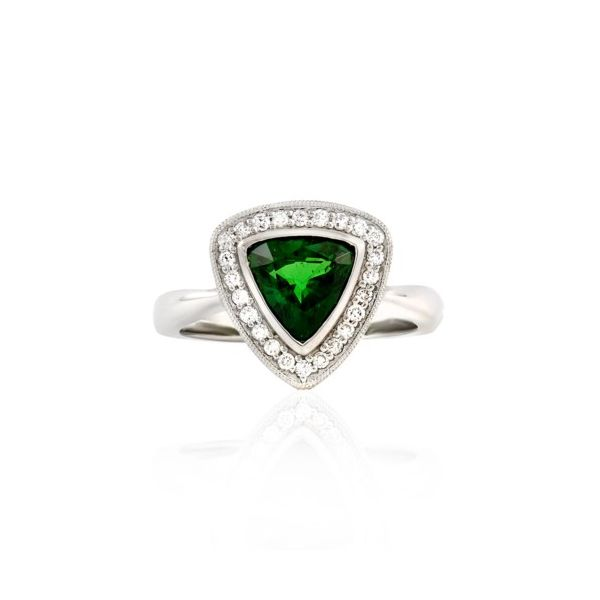 14K Trillion Tsavorite & Diamond Halo Ring Champaign Jewelers Champaign, IL