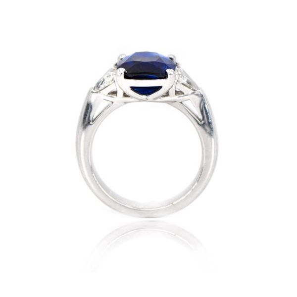 Platinum Three Stone Cushion Blue Sapphire & Diamond Ring Image 3 Champaign Jewelers Champaign, IL