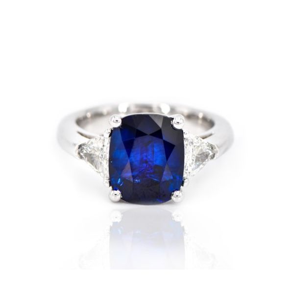 Platinum Three Stone Cushion Blue Sapphire & Diamond Ring Champaign Jewelers Champaign, IL