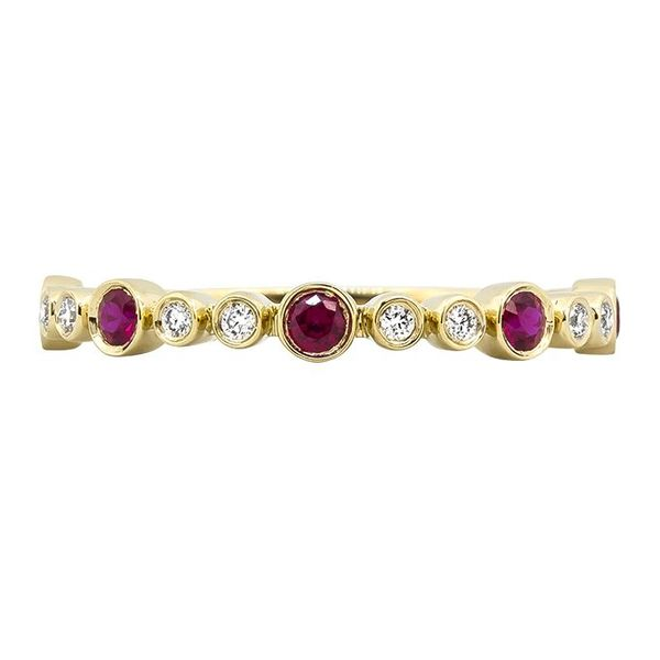 14K Yellow Gold Ruby & Diamond Stackable Band Champaign Jewelers Champaign, IL