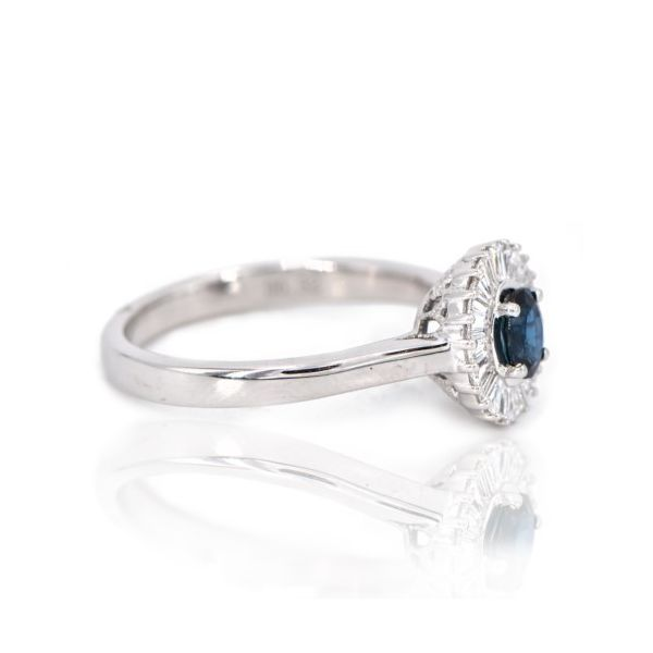 14K White Gold Blue Sapphire & Baguette Diamond Halo Ring Image 2 Champaign Jewelers Champaign, IL