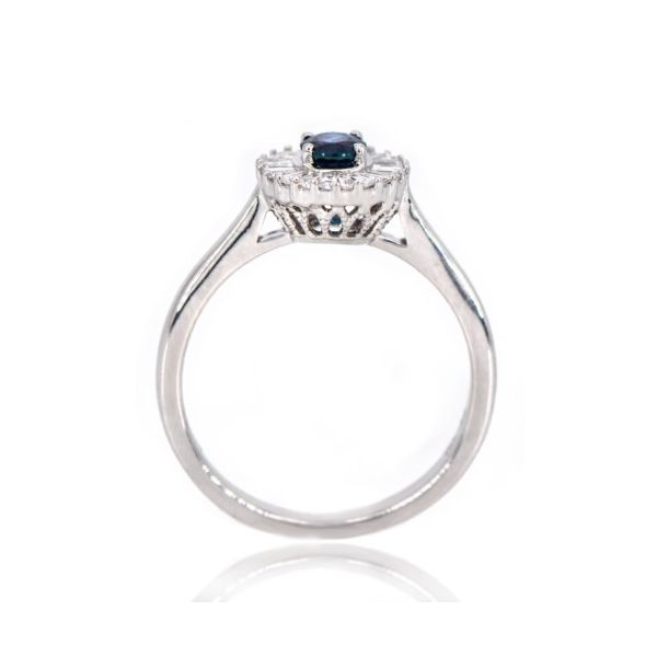 14K White Gold Blue Sapphire & Baguette Diamond Halo Ring Image 3 Champaign Jewelers Champaign, IL
