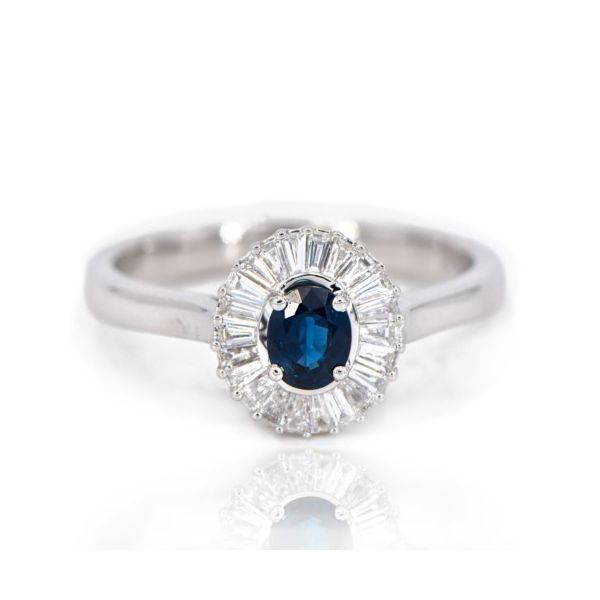 14K White Gold Blue Sapphire & Baguette Diamond Halo Ring Champaign Jewelers Champaign, IL
