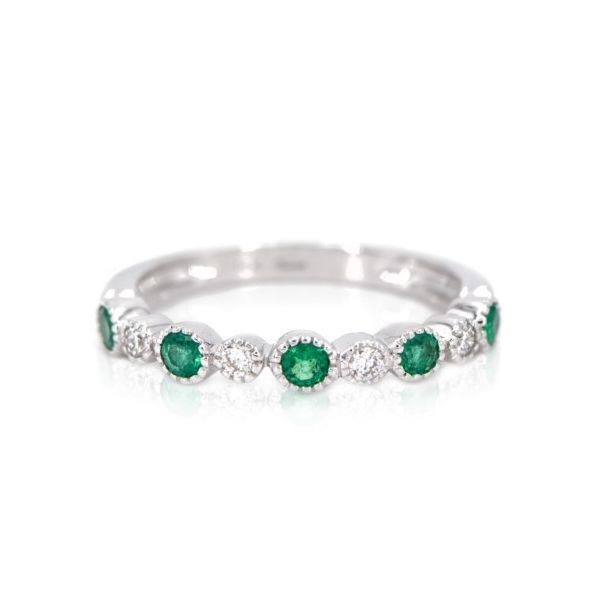 14K White Gold Emerald & Diamond Band Champaign Jewelers Champaign, IL