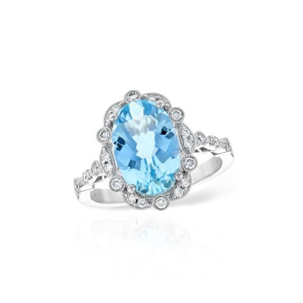 14K White Gold Aquamarine & Diamond Halo Fashion Ring Champaign Jewelers Champaign, IL
