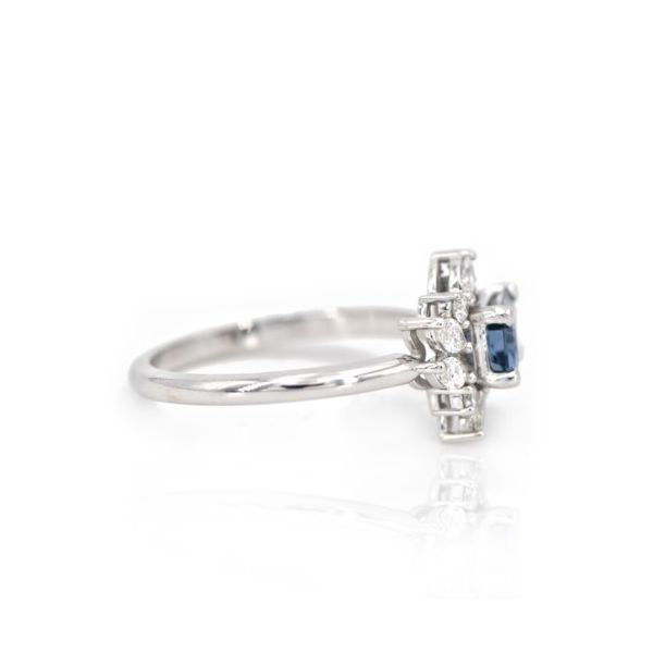 14K Denim Blue Spinel & Diamond Assymetrical Cluster Ring Image 2 Champaign Jewelers Champaign, IL