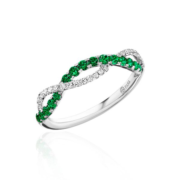 14 Karat White Gold Emerald & Diamond Twisted Band Champaign Jewelers Champaign, IL