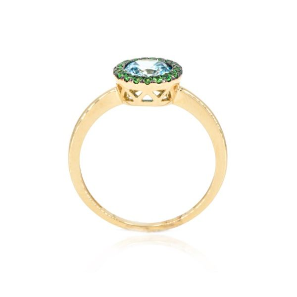 14K Blue Zircon & Green Tsavorite Garnet Halo Fashion Ring Image 2 Champaign Jewelers Champaign, IL