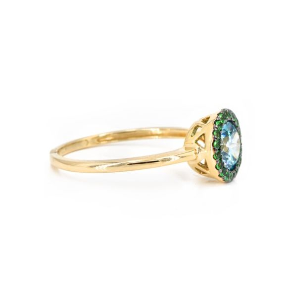 14K Blue Zircon & Green Tsavorite Garnet Halo Fashion Ring Image 3 Champaign Jewelers Champaign, IL