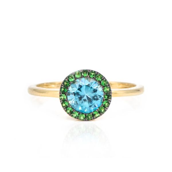14K Blue Zircon & Green Tsavorite Garnet Halo Fashion Ring Champaign Jewelers Champaign, IL