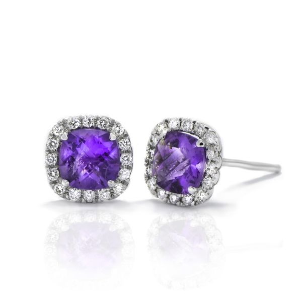 10K Amethyst & Diamond Halo Earrings Champaign Jewelers Champaign, IL