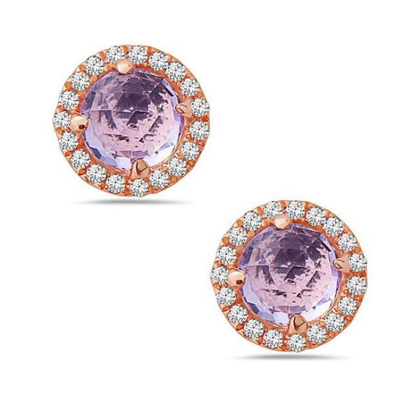 14 Karat Rose Gold Rose Cut Amethyst & Diamond Halo Stud Earrings Champaign Jewelers Champaign, IL