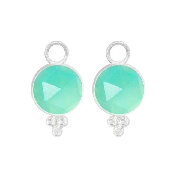CHRYSOPRASE ROUND SILVER EARRING CHARMS BEZEL-SET 10MM (CHARMS ONLY) Champaign Jewelers Champaign, IL