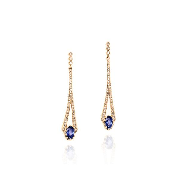 14K Yellow Gold Diamond & Blue Sapphire Drop Earrings Champaign Jewelers Champaign, IL