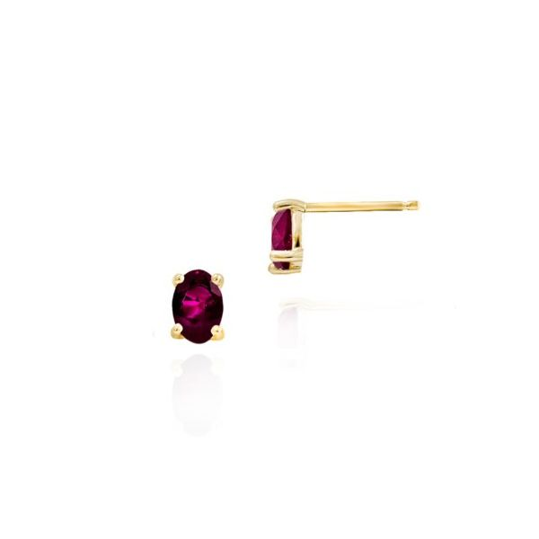14K Yellow Gold Rhodolite Garnet Stud Earrings Champaign Jewelers Champaign, IL