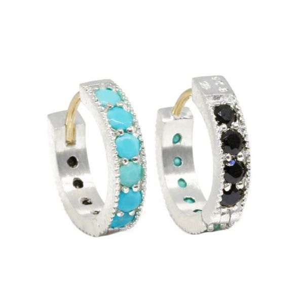 Intricate 15mm Turquoise and Black Spinel 18K and Silver Reversible Huggies Champaign Jewelers Champaign, IL