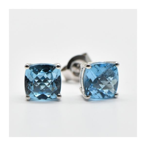 Blue Topaz Cushion Cut Stud Earrings Champaign Jewelers Champaign, IL