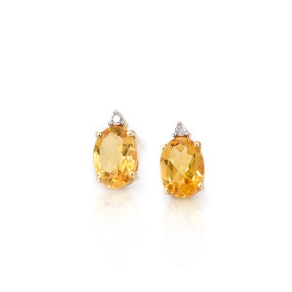 Citrine Earrings with Diamond Accent Champaign Jewelers Champaign, IL